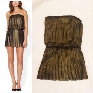 11f6a0dac3 BCBGMaxAzria Dresses - BCBGMaxAzria Rive Gold Metallic Pleated Mini Dress